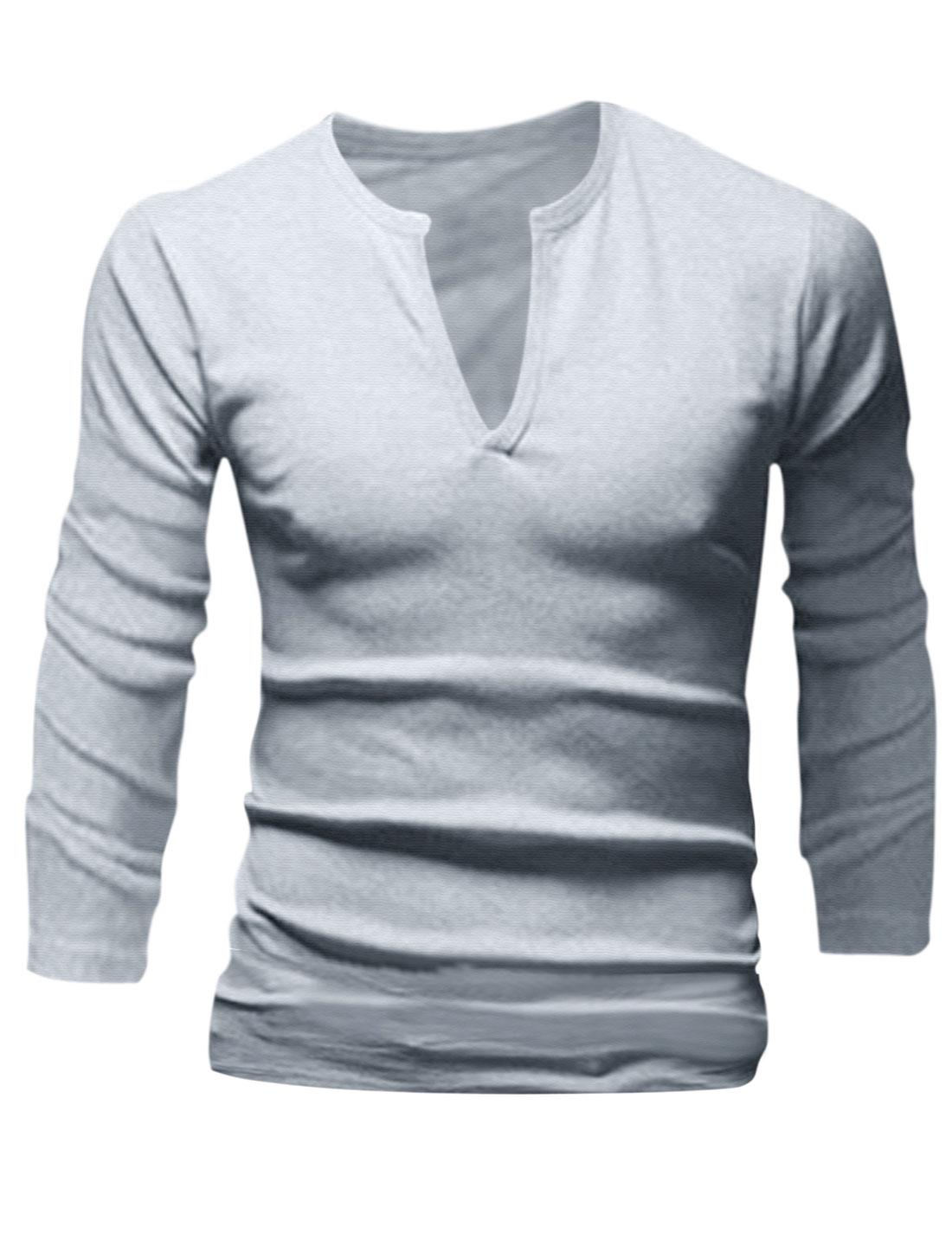 Men Pullover Split Neck Fashionbale Casual Shirt Light Gray M