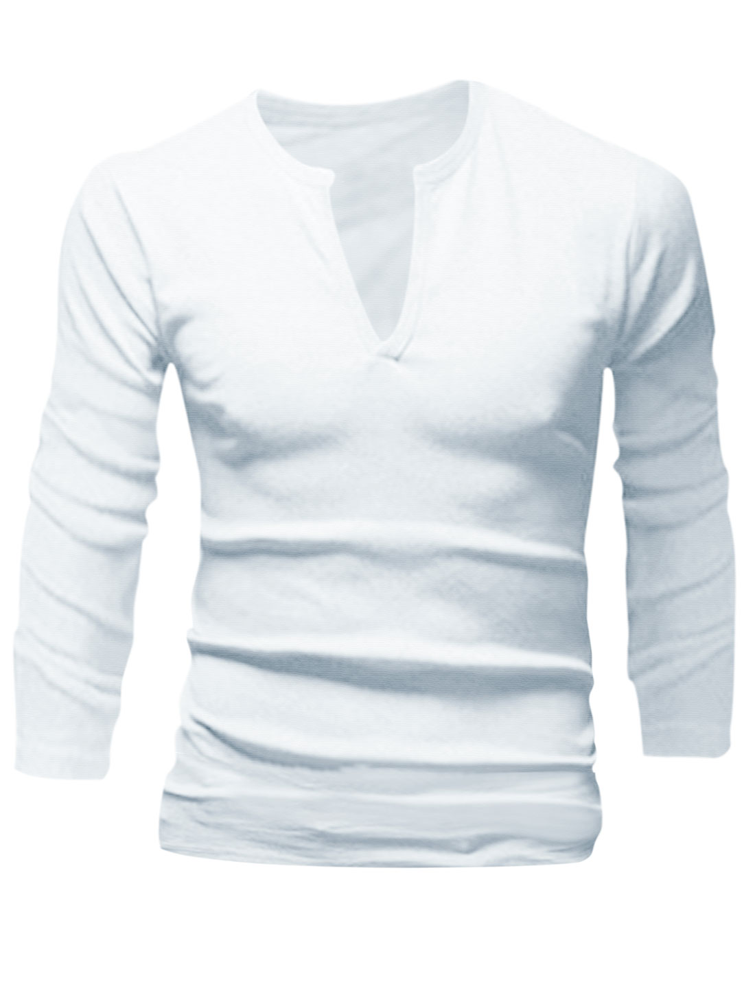 Slim Fit Split Neck Design Casual Shirt for Man White M