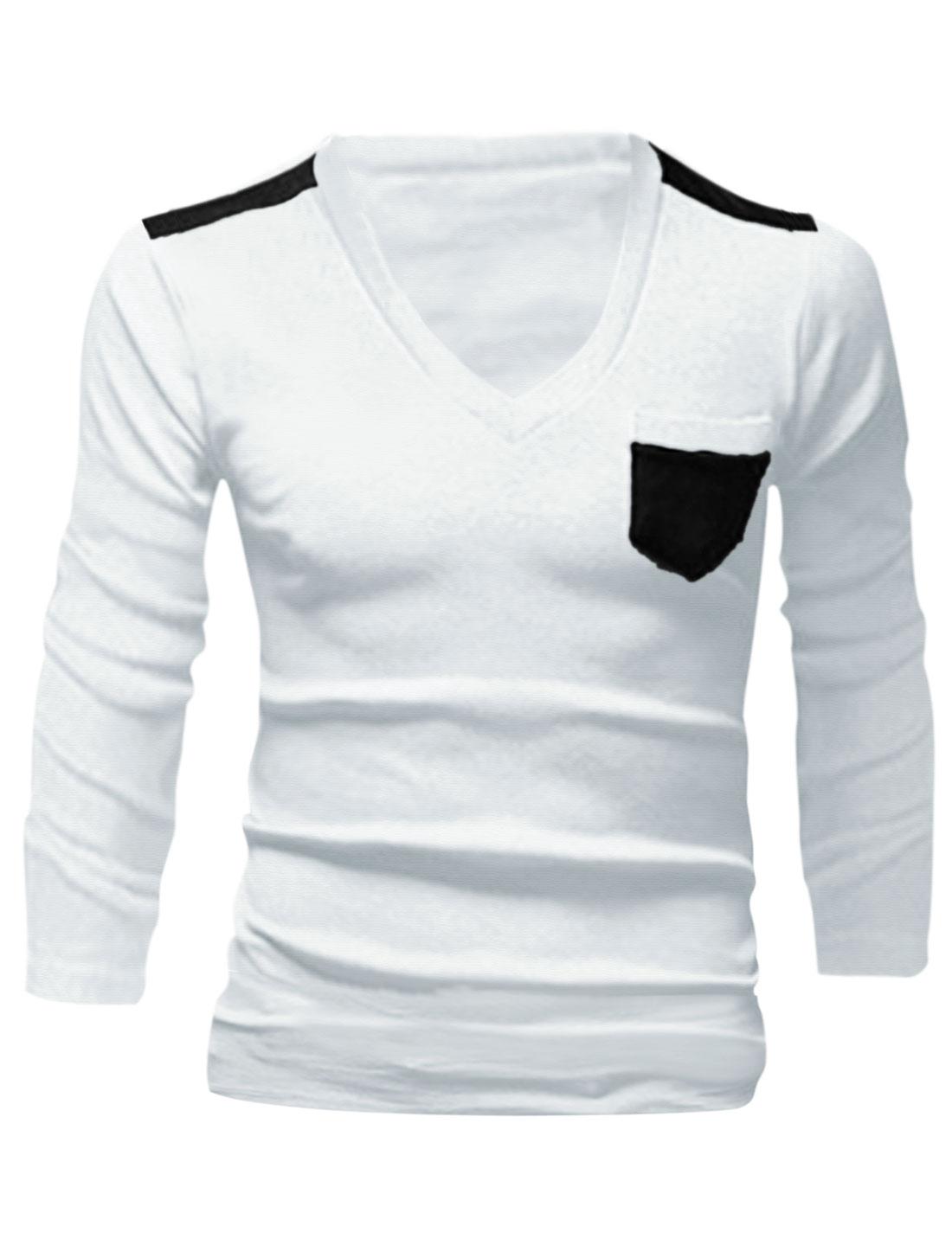 Slim Fit V Neck Fashionable Panel Shirt for Man White M