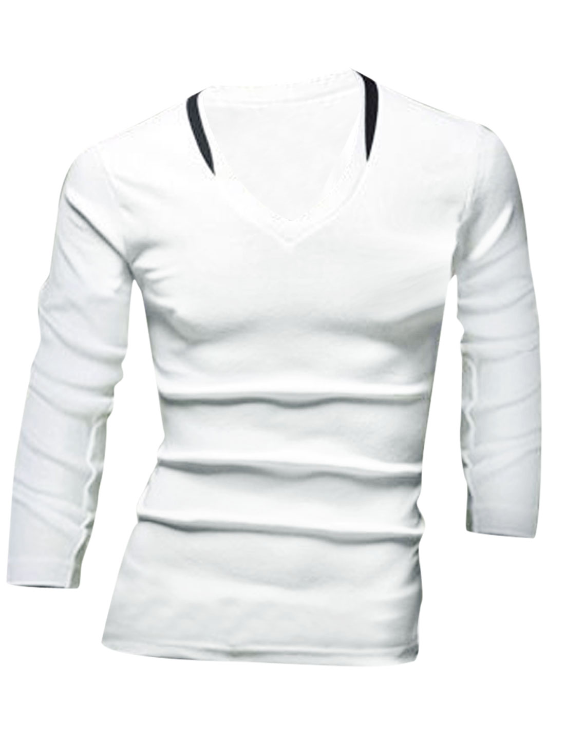 Men V Neck Long Sleeve Slim Fit T-Shirt White M