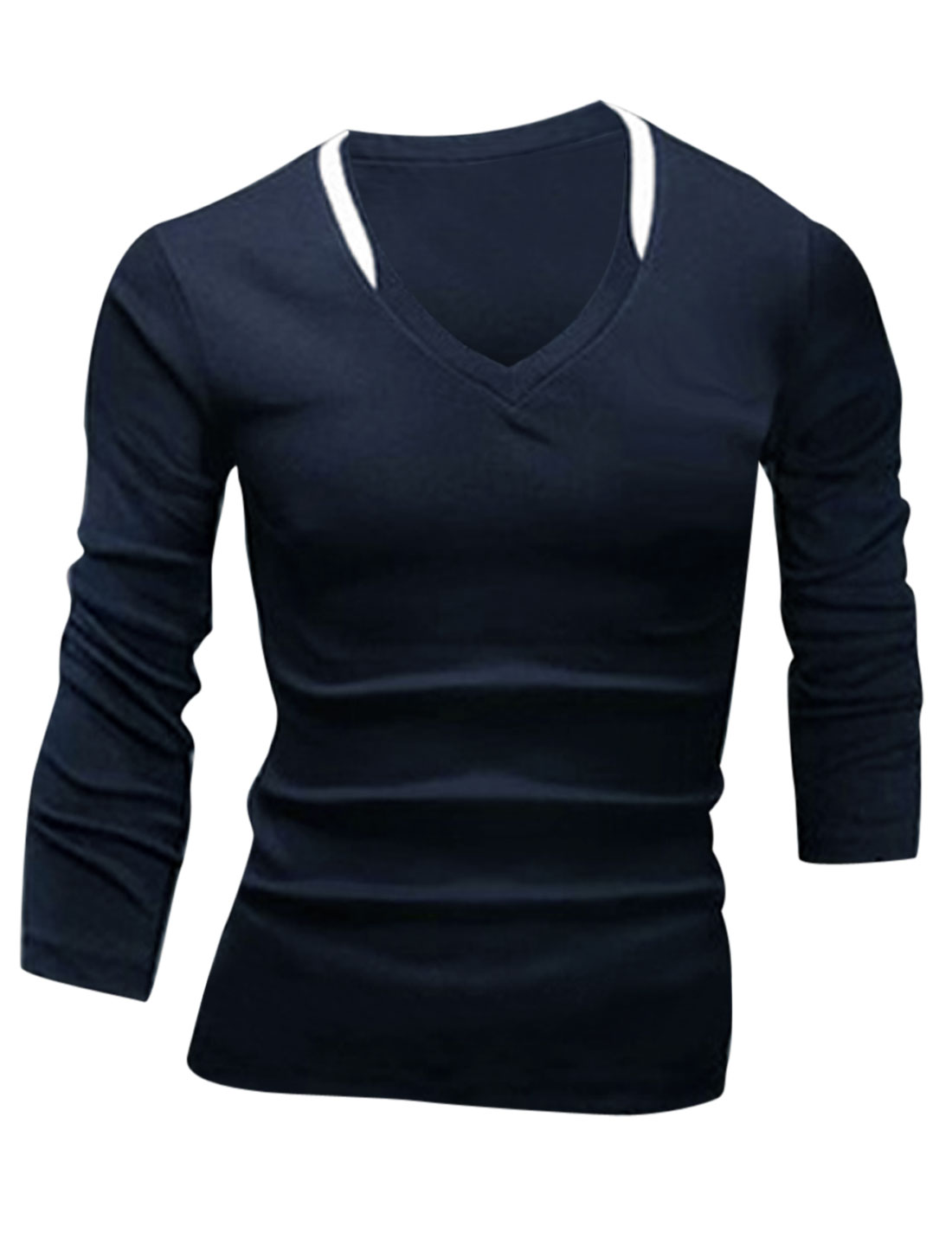 Men V Neck Long Sleeve Slim Fit T-Shirt Navy Blue M