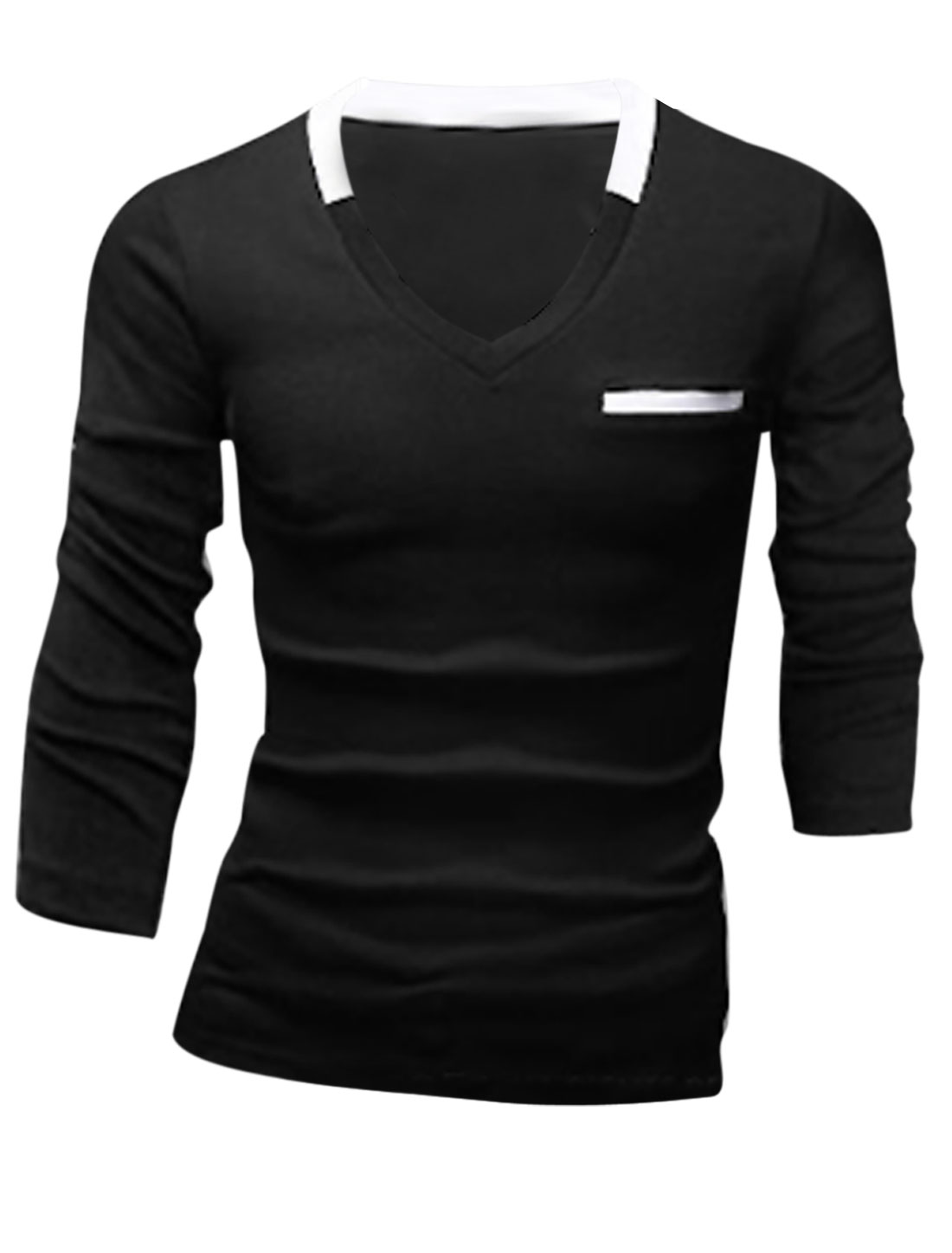 Men Long Sleeve Mock Welt Pocket Slipover Slim Fit T-Shirt Black M