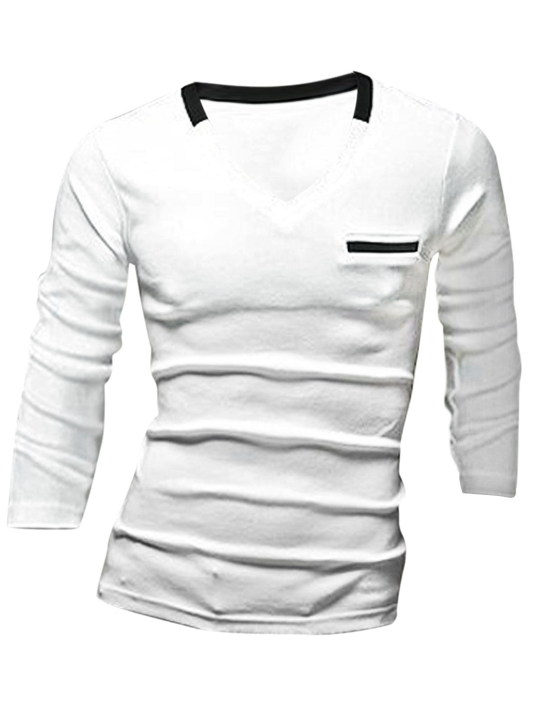 Men Long Sleeve Mock Welt Pocket Pullover Slim Fit T-Shirt White M