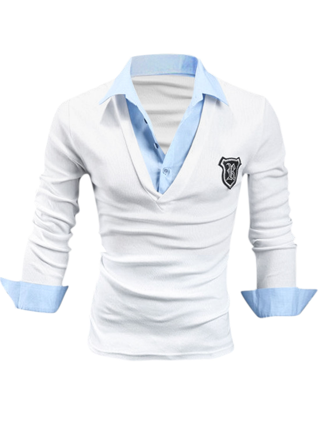 Men Long Sleeve Layered Shirts Applique Detail Polo Shirt White M