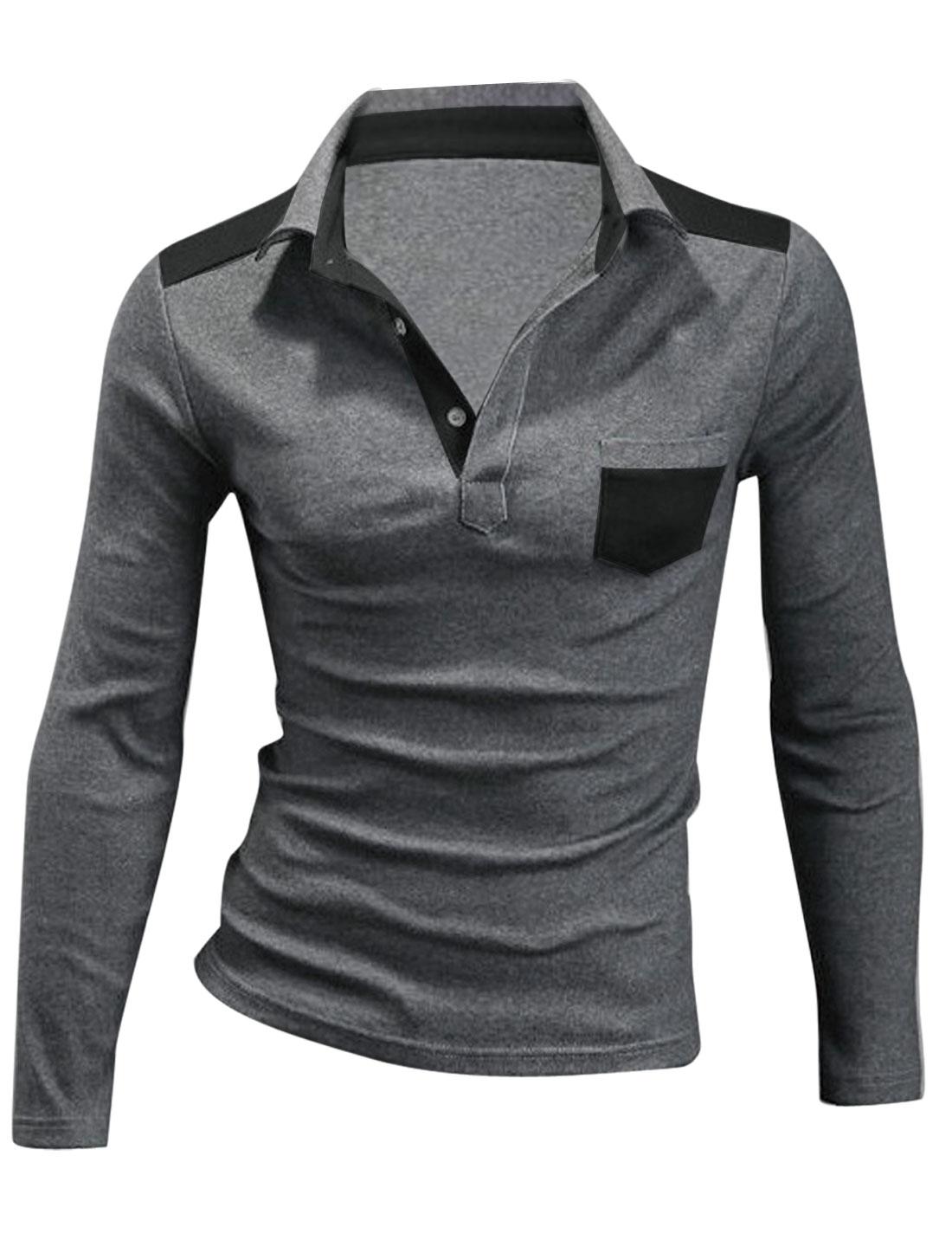 Men Long Sleeve One Chest Pocket Polo Shirt Dark Gray M
