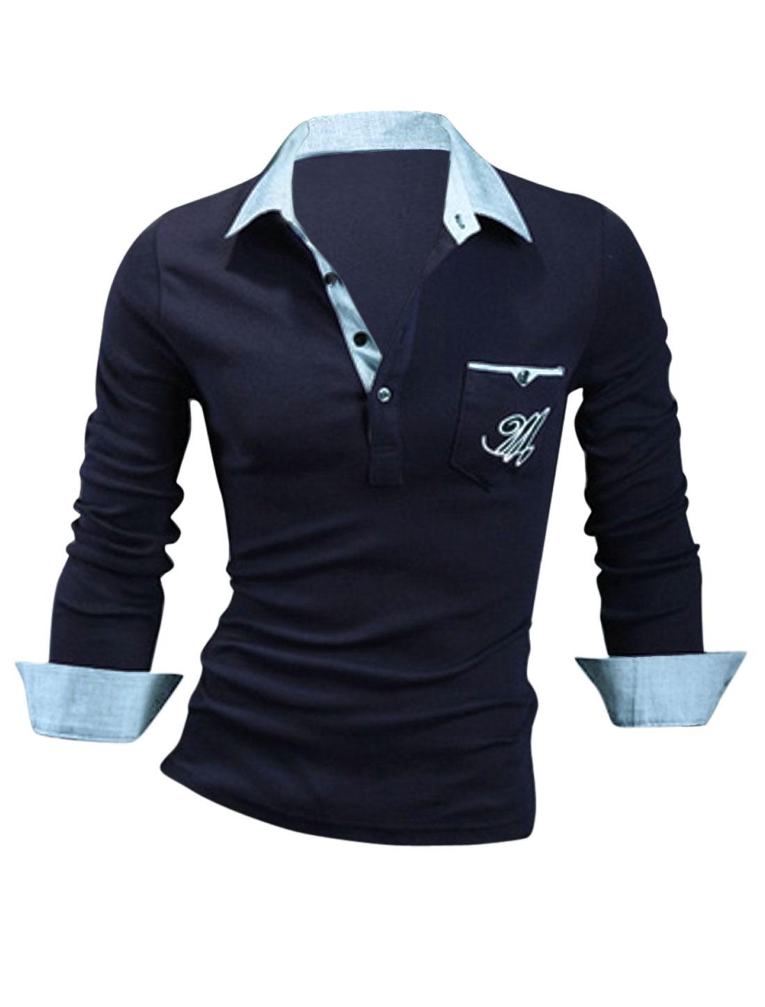 Men Long Sleeve Button Cuffs Polo Shirt Navy Blue M