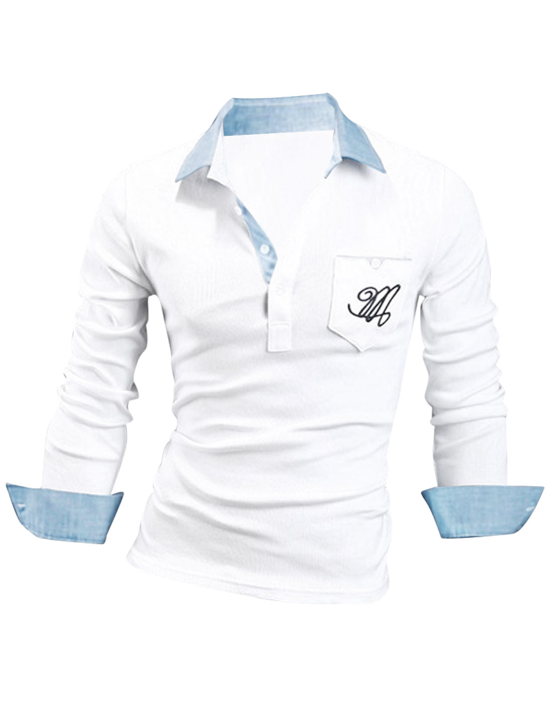Men Long Sleeve Button Cuffs Polo Shirt White M
