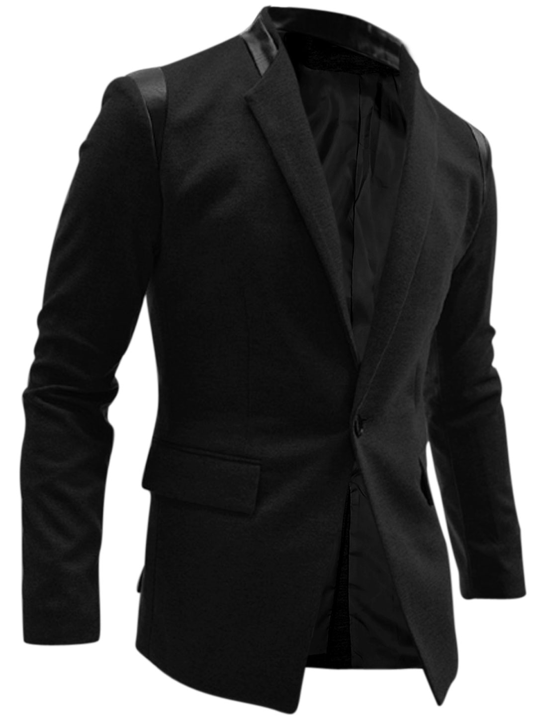 Men Two Flap Pockets Single Button Padded Shoulder Blazer Jacket Black M
