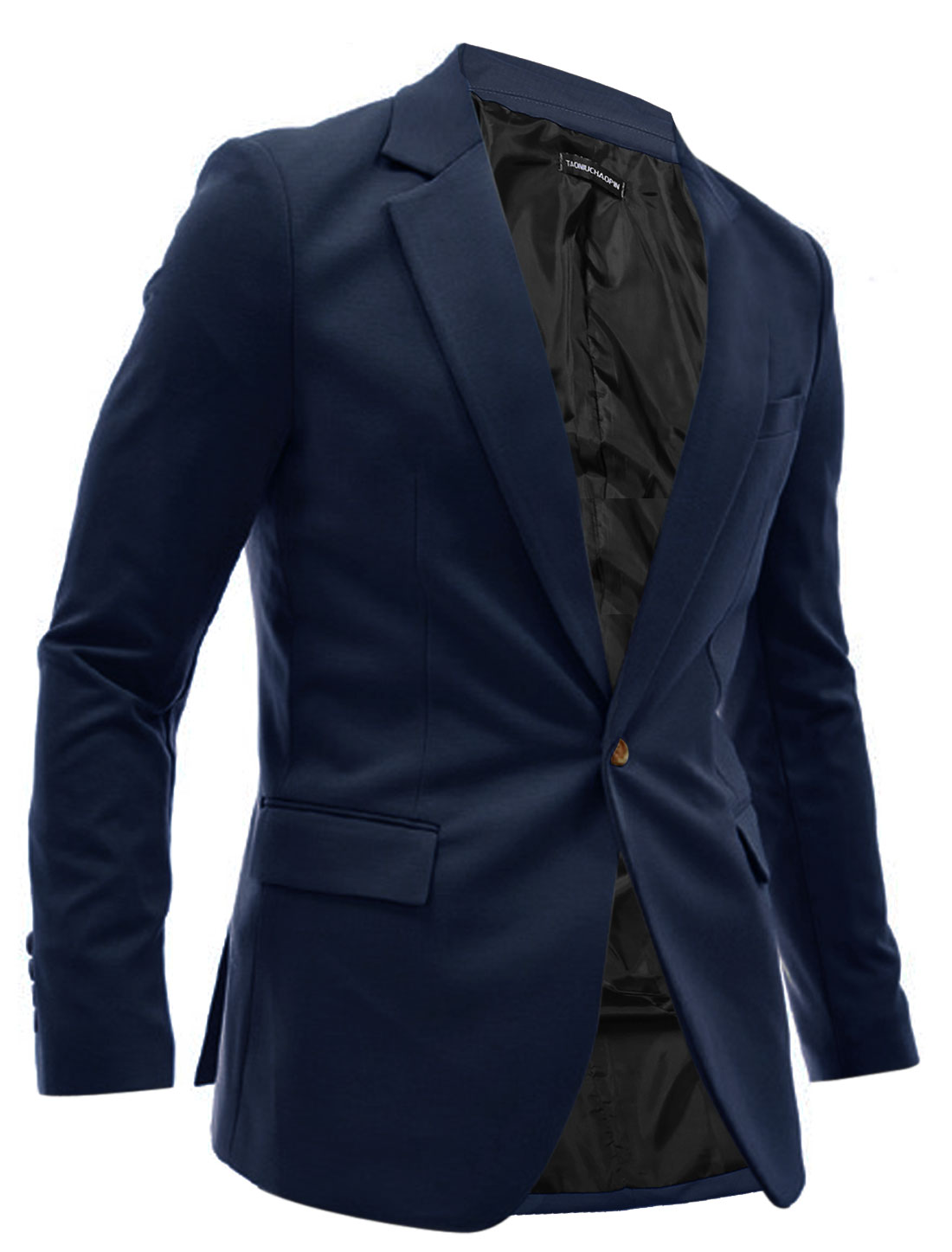 Men Long Sleeve One Button Up Padded Shoulder Casual Blazer Dark Blue M