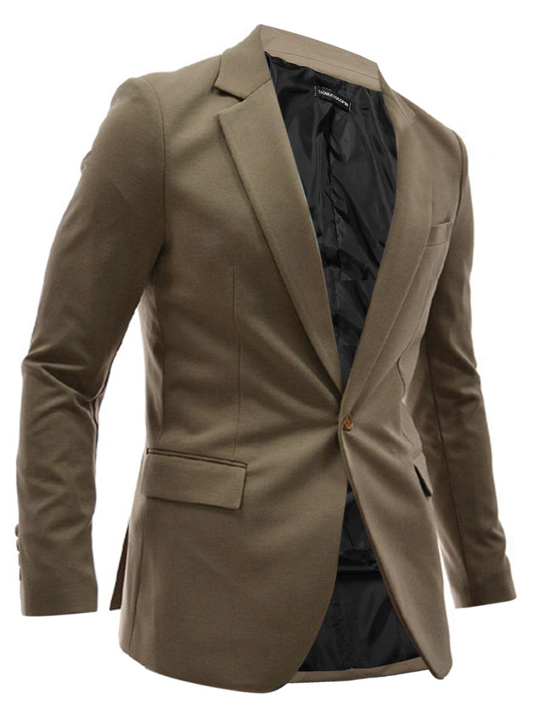 Men Long Sleeve Double Flap Pockets Padded Shoulder Blazer Kahaki M