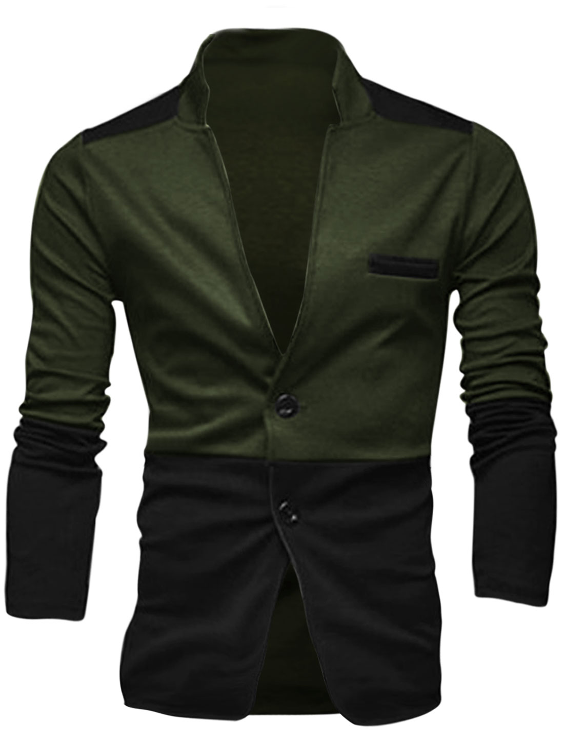 Men Notched Lapel Two Buttons Contrast Color Basic Jacket Black Army Green M