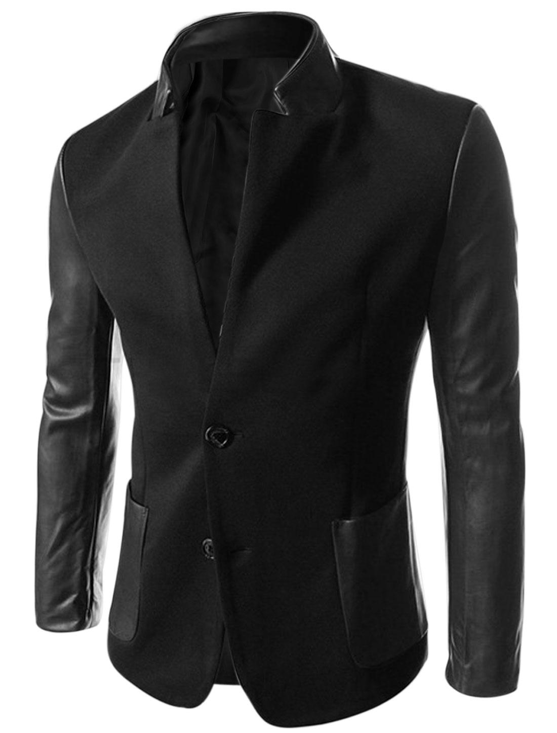 Men Imitation Leather Panel Padded Shoulder Casual Jacket Black M