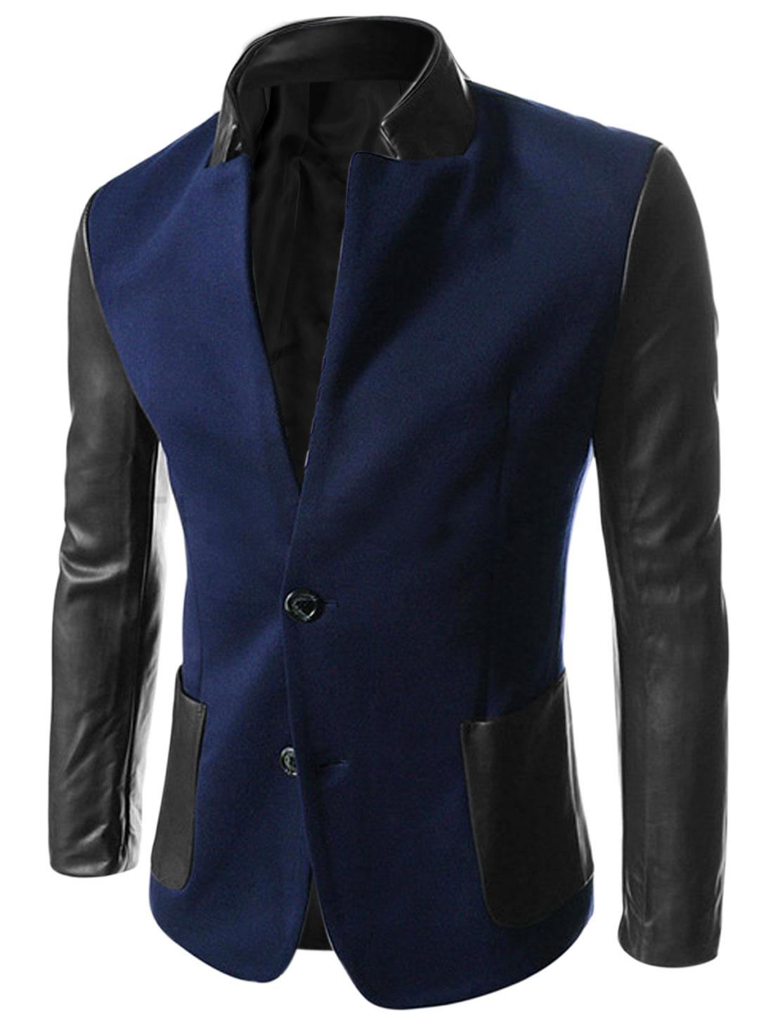 Men Imitation Leather Panel Padded Shoulder Jacket Dark Blue M