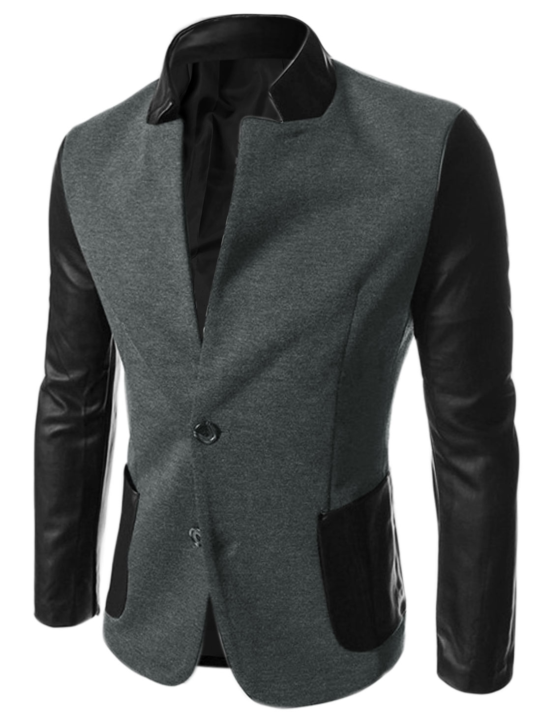 Men Imitation Leather Panel Padded Shoulder Jacket Dark Gray M