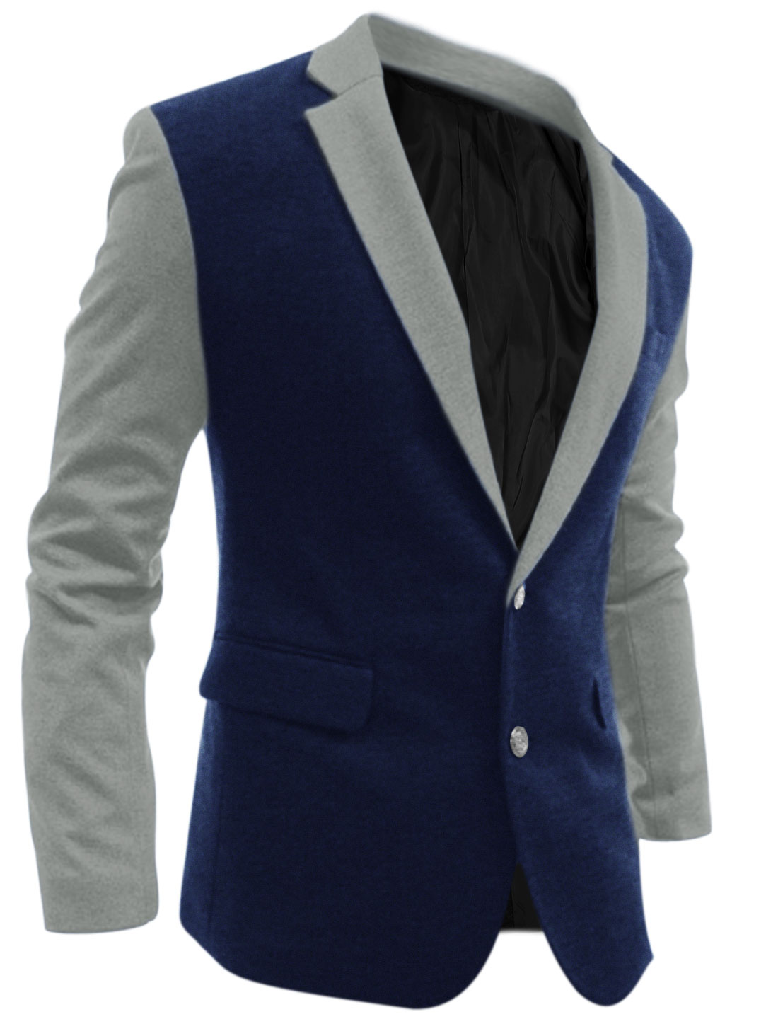 Men Contrast Color Single Breasted Vertical Pockets Split Back Blazer Navy Blue M