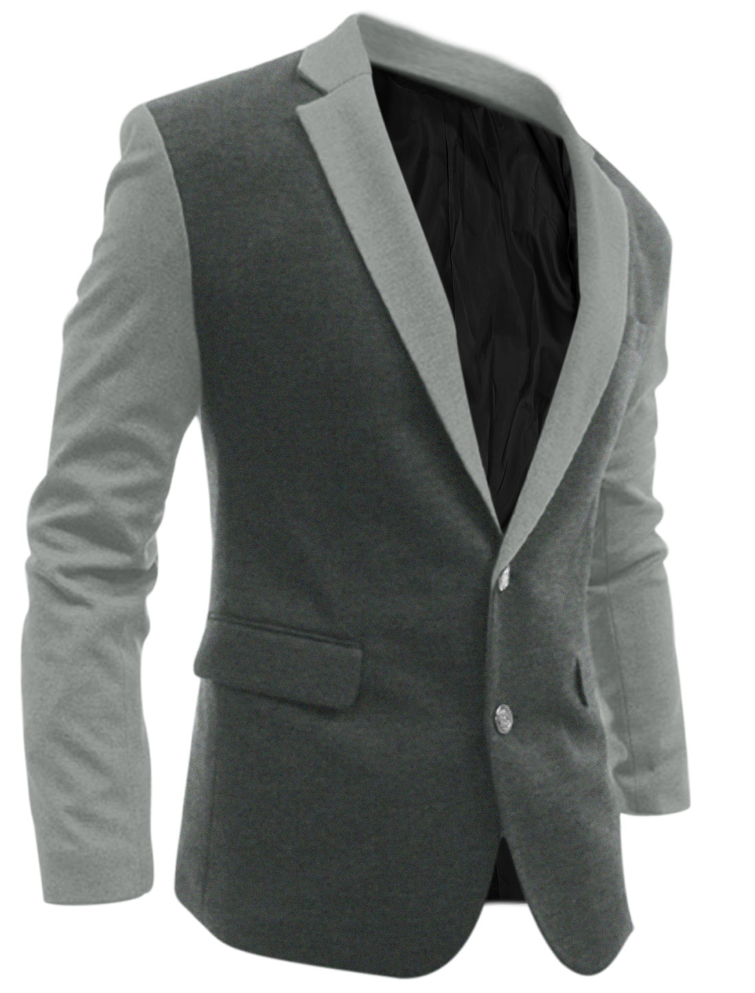 Men Single Breasted Color Block Slim Casual Blazer Dark Gray M