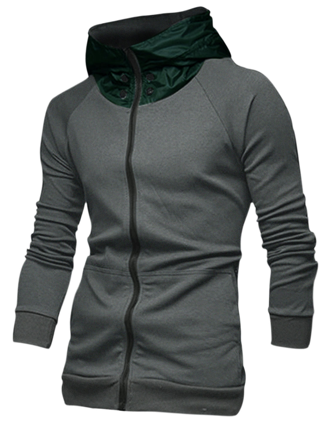 Men Zip Fly Long Raglan Sleeve Colorblock Hoodie Dark Gray M