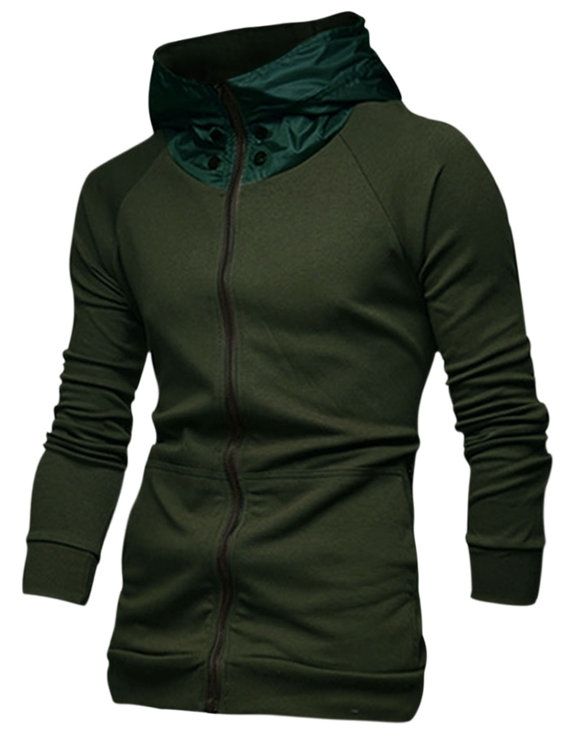 Men Zip Up Long Raglan Sleeve Colorblock Hoodie Army Green M