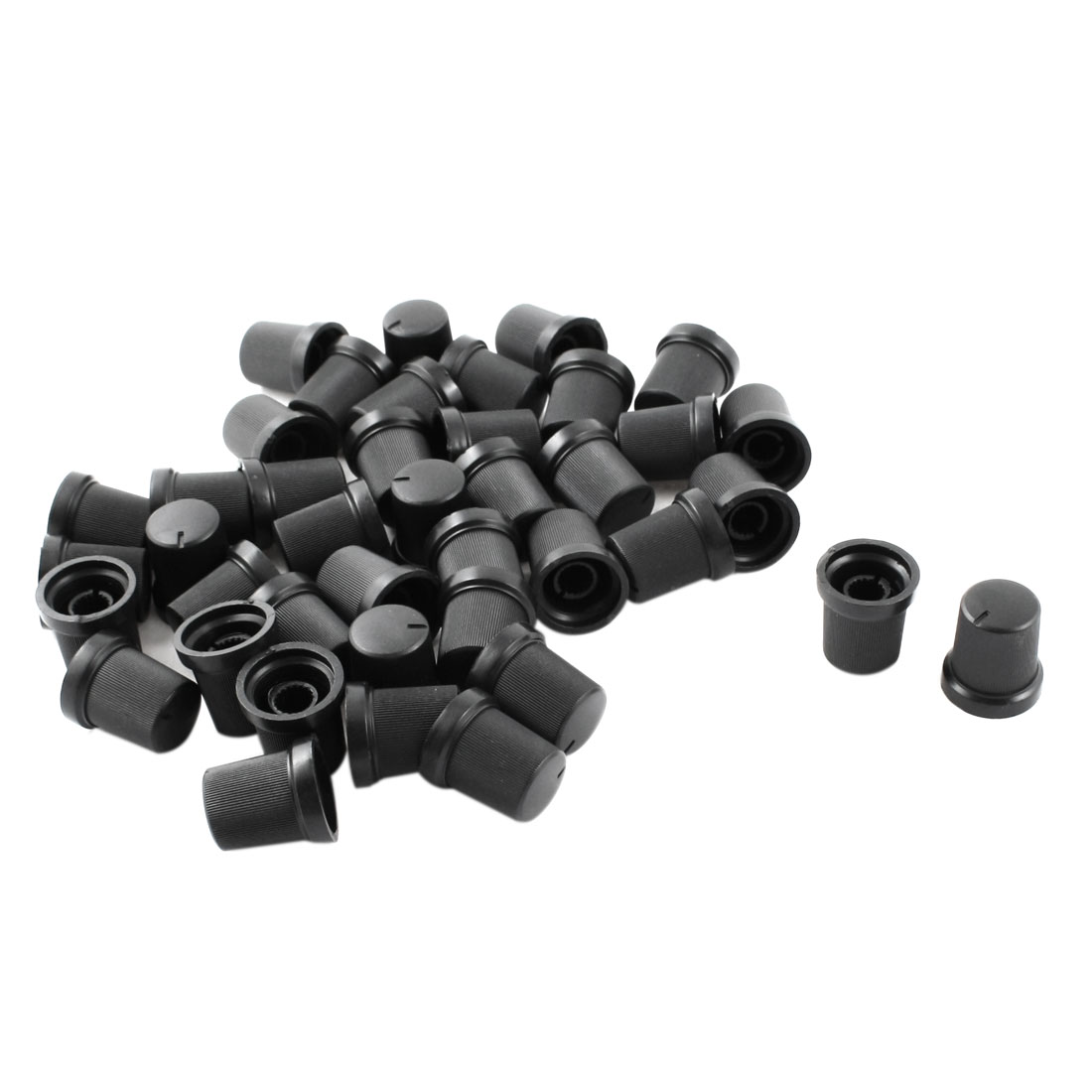 40pcs 6mm Knurled Shaft Black Top Taper Volume Knob Cap for Potentiometer Pot