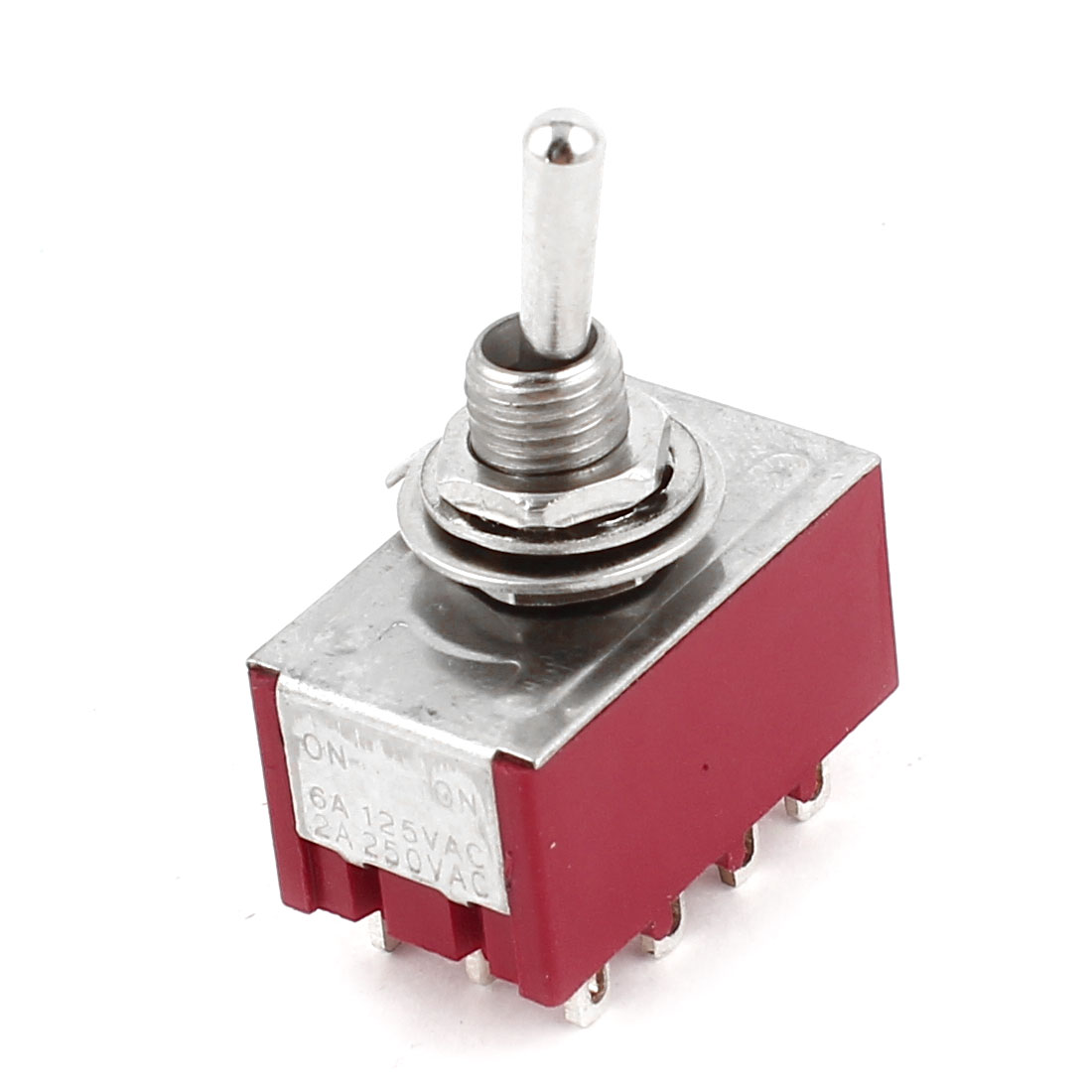 Red Two Positions 12-Terminals 4P2T ON-ON Mini Toggle Switch 6A AC125V 2A AC250V