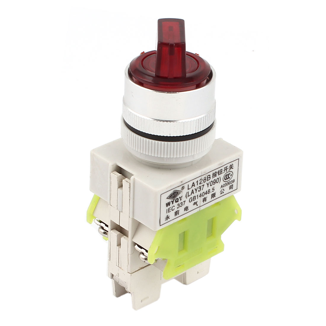 AC220V 10A DPDT 6 Terminals 3 Position Control Red Light Rotary Selector Latching Switch