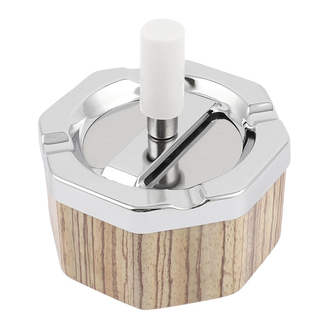 Office Metal Desktop Decor Smoking Cigarette Holder Container Ashtray Wood Color