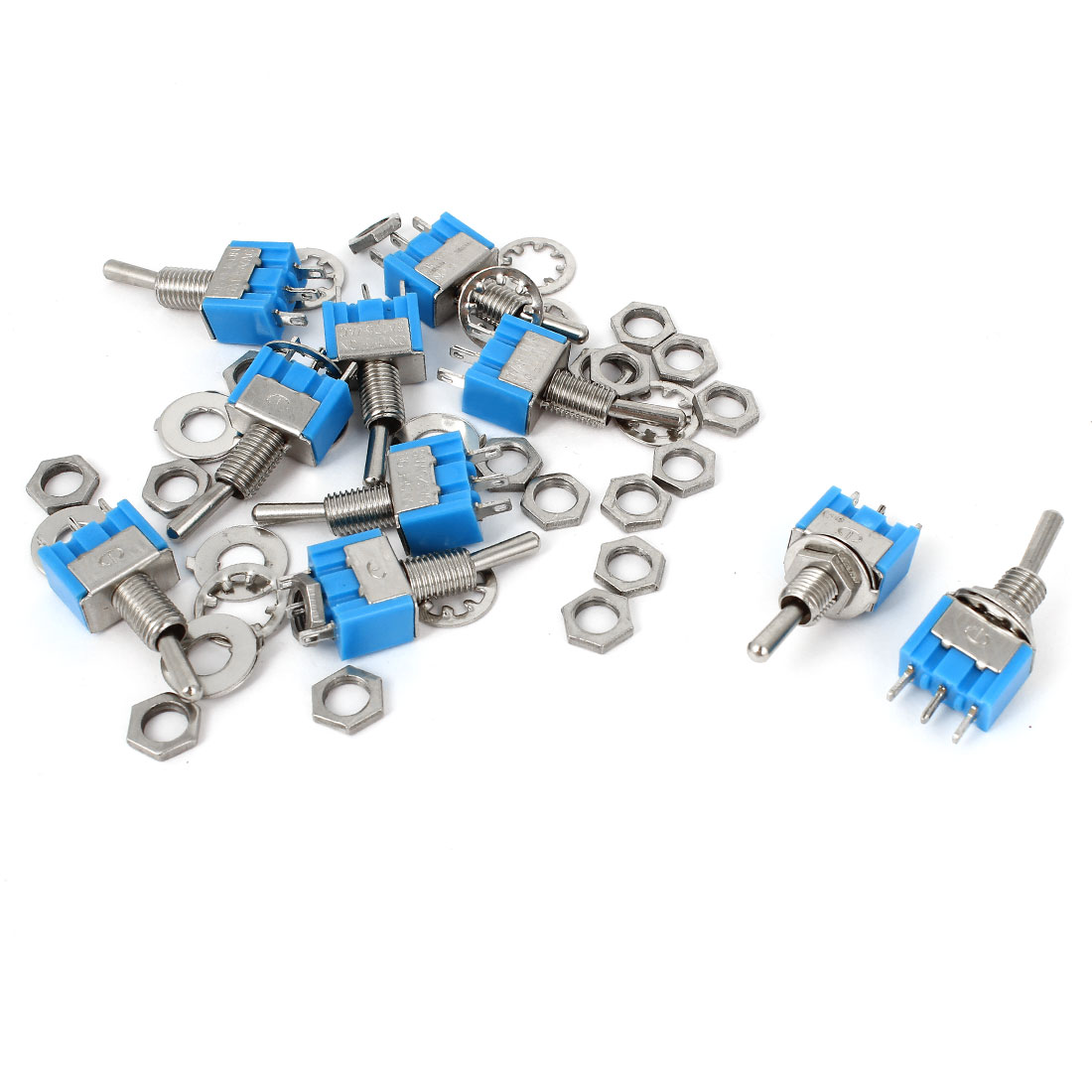10PCS 3 Terminals SPDT On-On Latching Mini Toggle Switch Blue AC 125V 6A