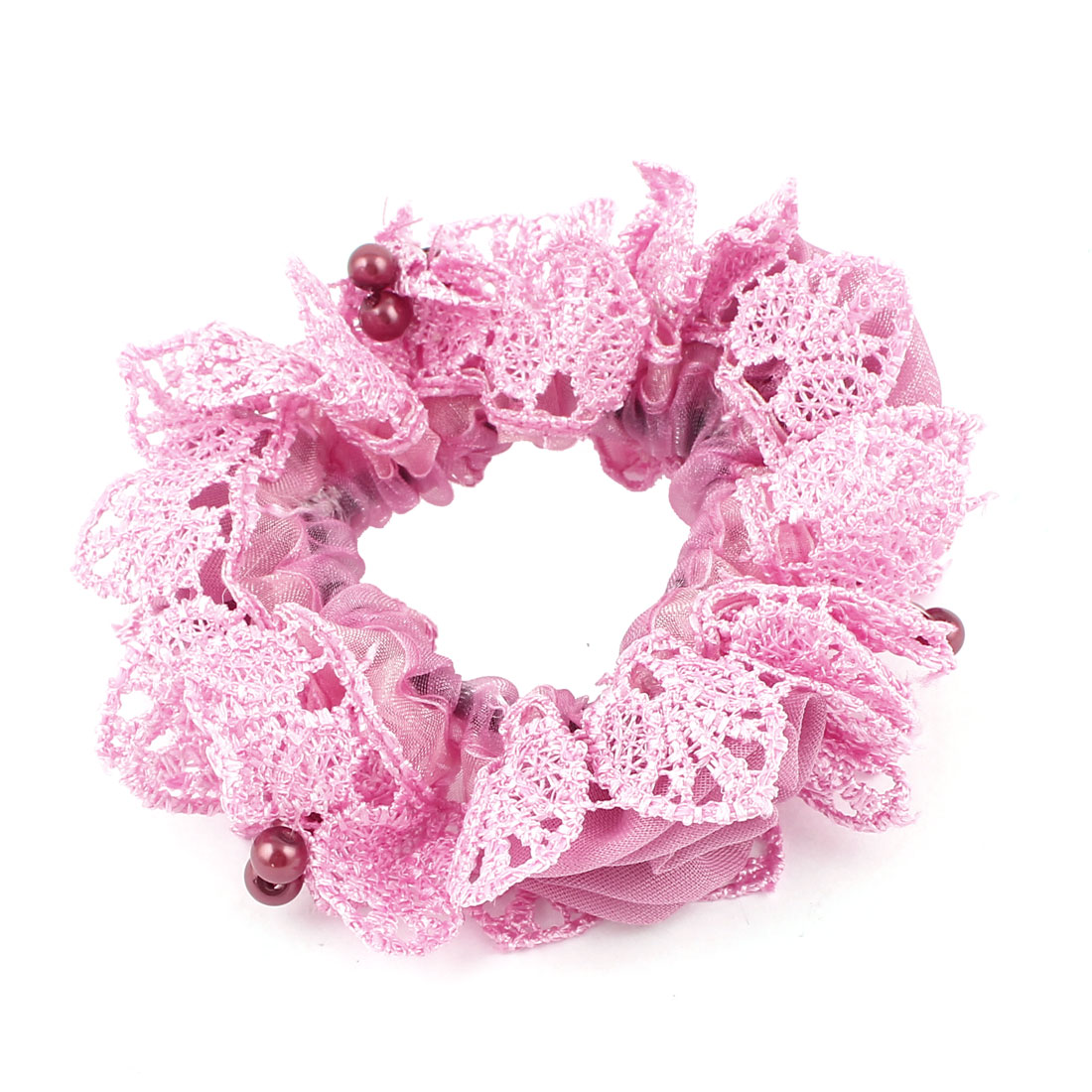 Woman Red Beads Lace Edge Elastic Band Ruffle Ponytail Holder Hair Band Pink