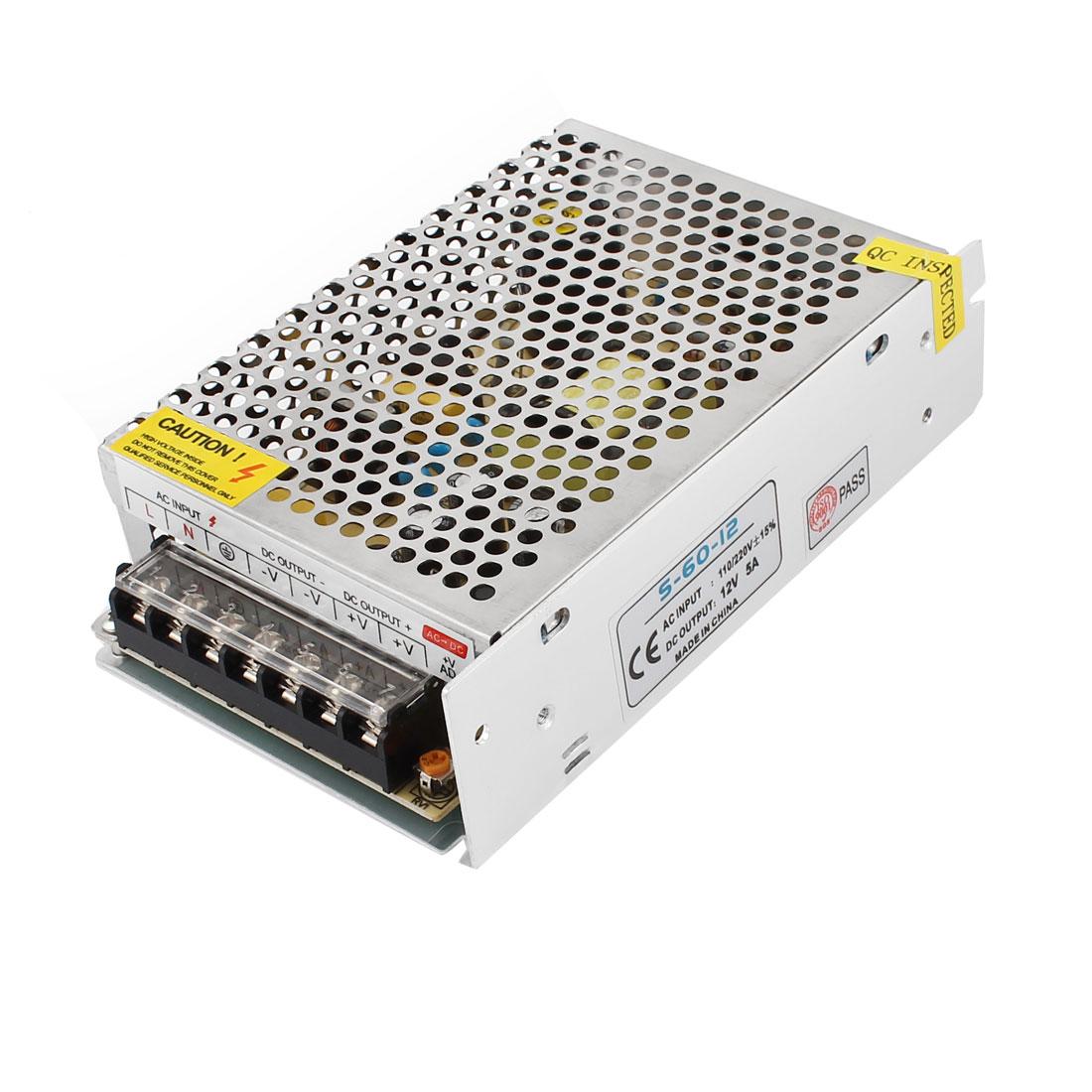 AC 110V-220V DC 12V 5A 60W Metal Housing Switching Power Supply Converter