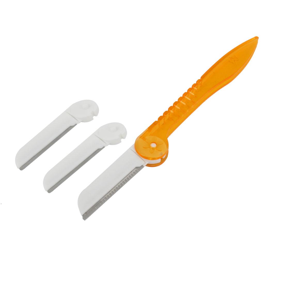 Women Orange White Nonslip Grip Eyebrow Razor Trimmer w 2 Replacement Blades