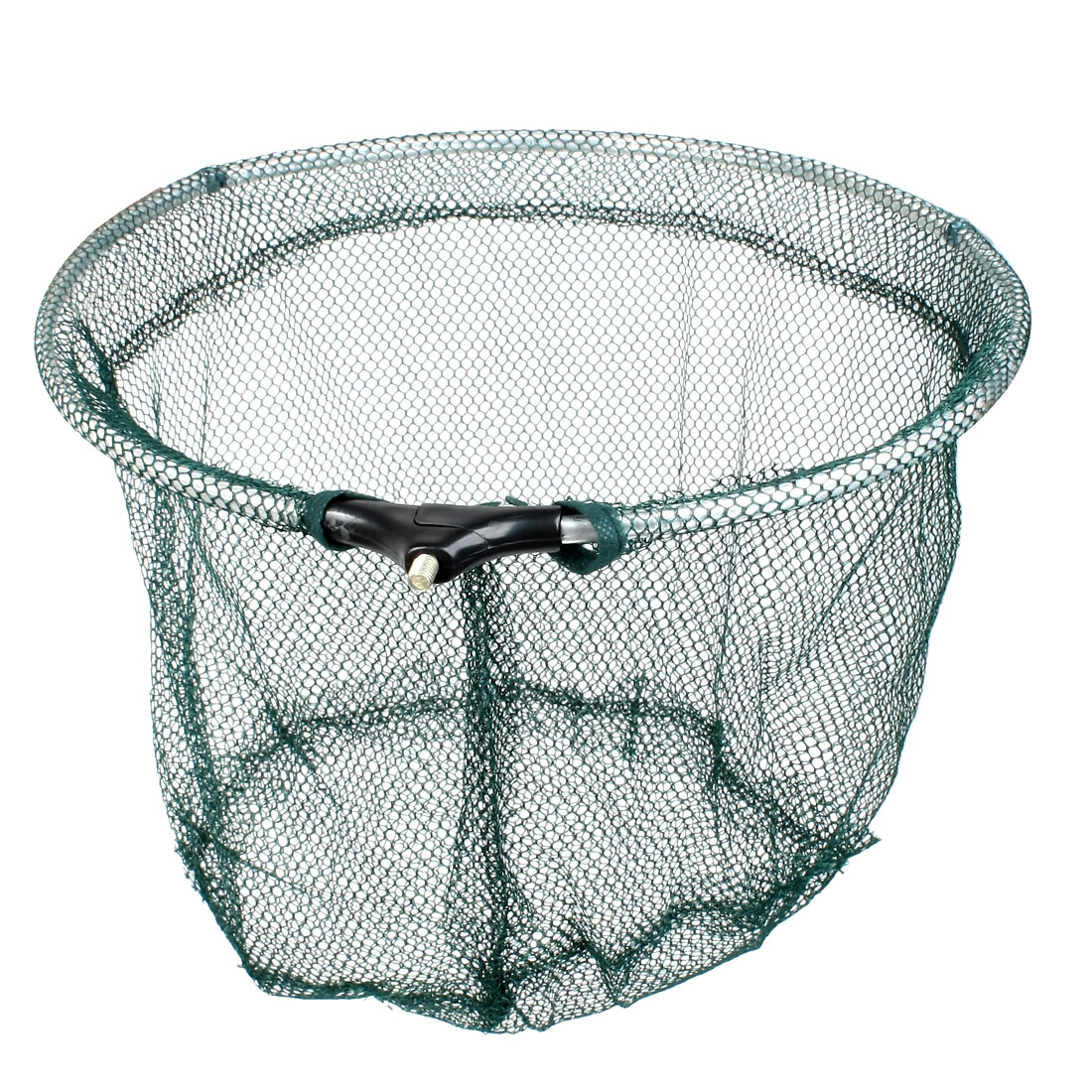 "14"" Dia Round Foldable Metal Frame Crawfish Shrimp Green Nylon Fishing Net Head"