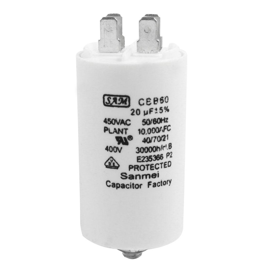 AC 450V CBB60 20UF 5% Cylinder Shape Polypropylene Film Washer Electrolytic Motor Capacitor White