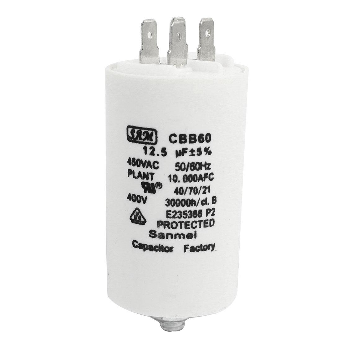 AC 450V CBB60 12.5UF 5% Cylinder Shape Polypropylene Film Electrolytic Motor Capacitor White