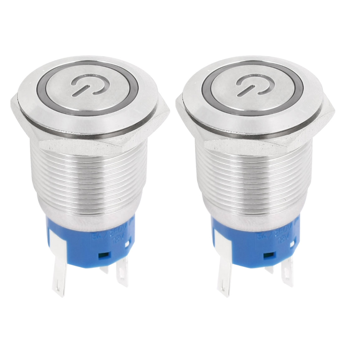 DC 12V Green LED Angel Eye Indicator Light SPDT 1NO 1NC 5Pins 19mm Thread Momentary Metal Push Button Switch 2pcs
