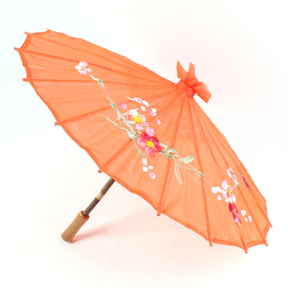 Orange Polyester Cover Floral Prints Bamboo Foldable Dancing Umbrella