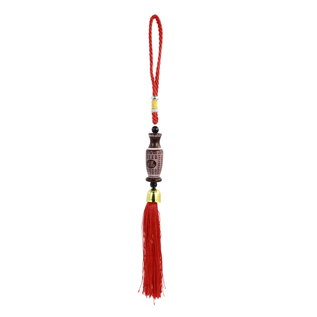 Vehicles Blessing Words Print Vase Tassel Pendant Hanging Adorn Brown Red