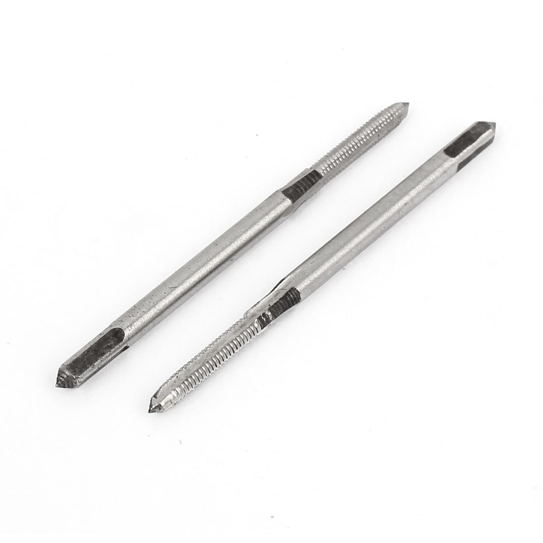 2 Pcs 45mm Total Length 3 Flutes HSS Hand Screw Thread Taper Taps