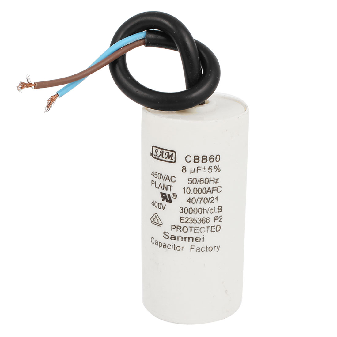 AC 450V CBB60 8uF Cylinder Shape Cord Polypropylene Film Washing Machine Washer Electrolytic Motor Capacitor White