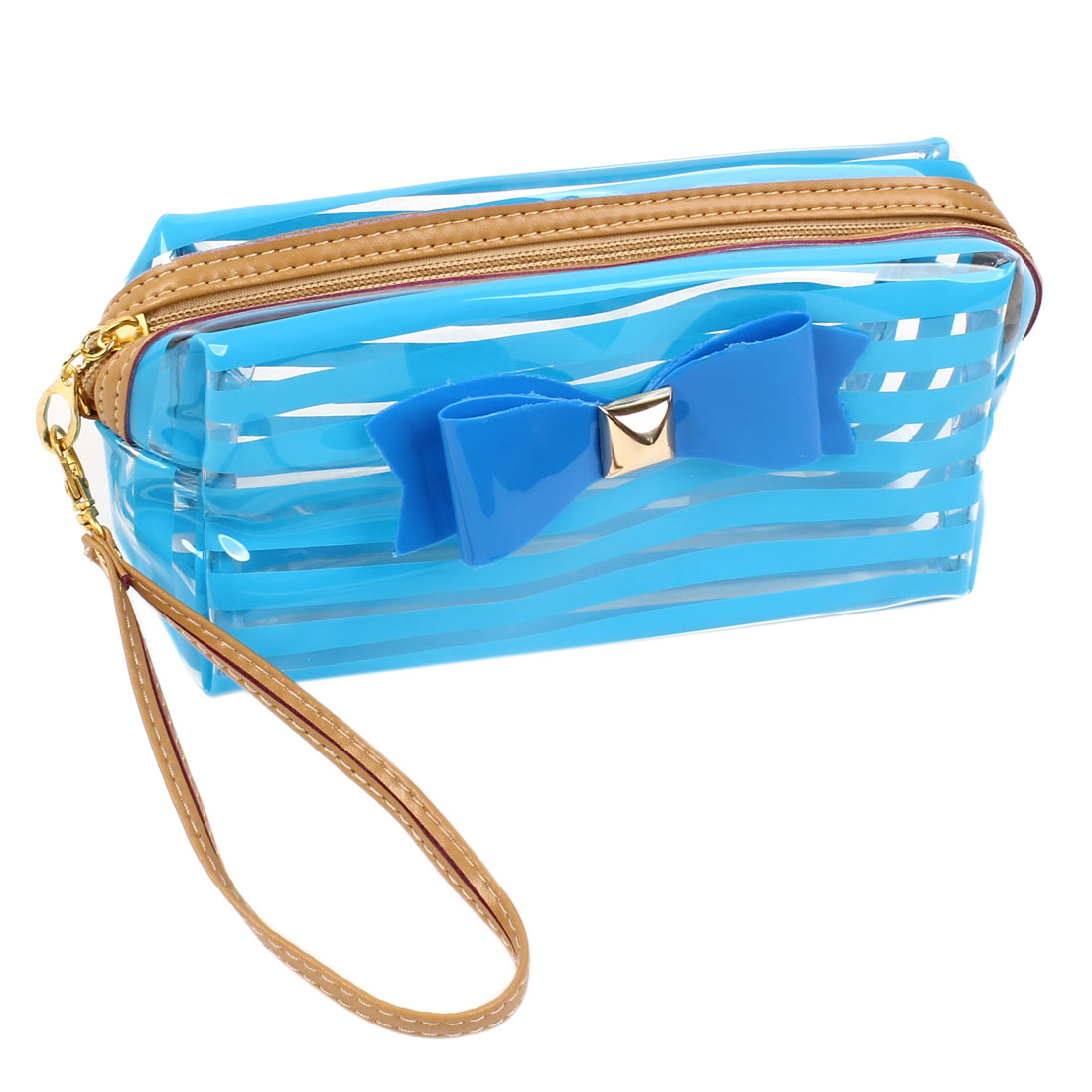 Women Soft Plastic Stripes Pattern Waterproof Cosmetic Bag Blue Clear
