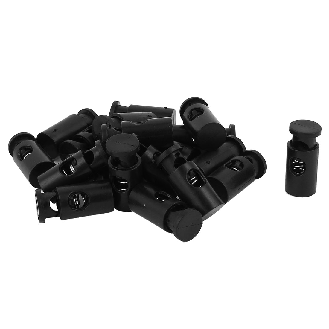 20 Pcs 6mm Diameter Hole Spring Loaded Clamps Cord Locks Ends Black
