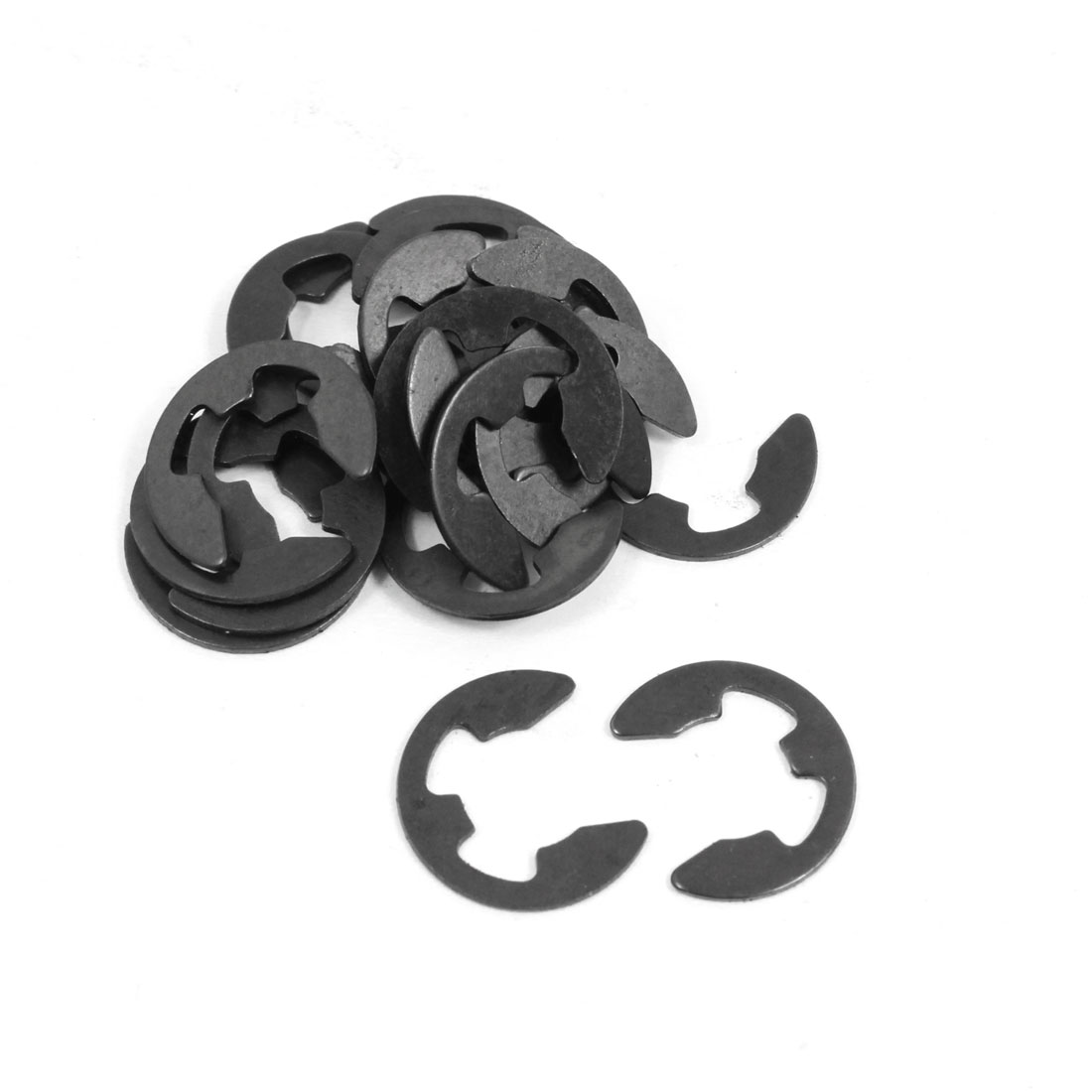 20 Pcs Black Metal 10mm Shaft Rod Lock E-Clip Clamp Washer