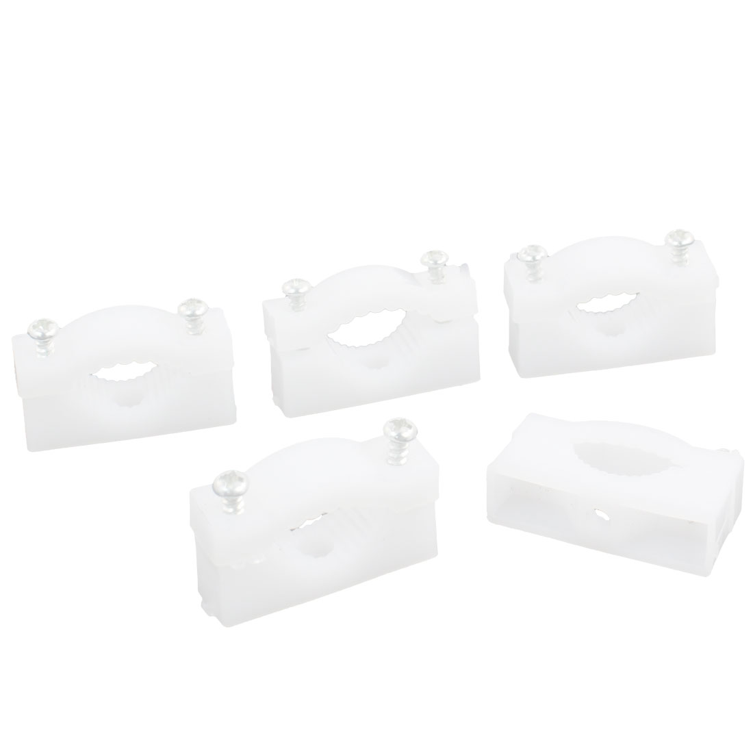 5 Pcs White 18mm Dia Wire Tube Cable Clips Nail Attached Fastener