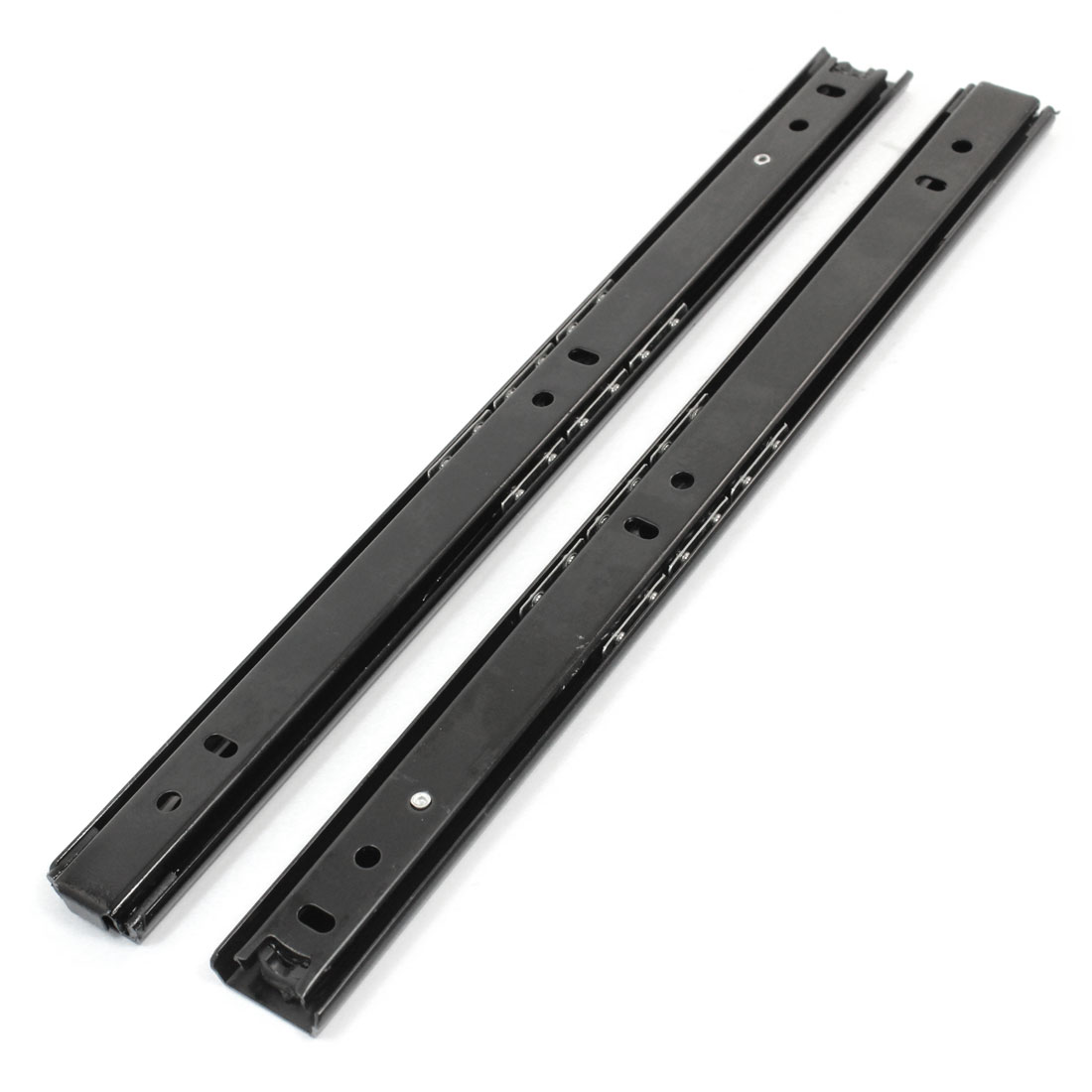2 Pcs Side Mount 2 Section Drawer Slides Track Rail 47cm Long Black