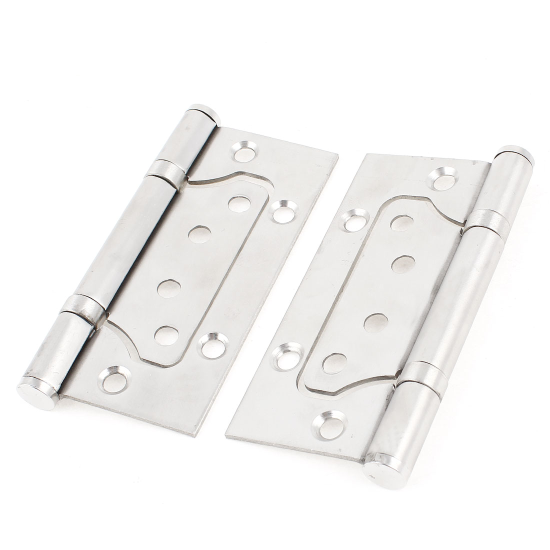 "2 Pcs Omnidirectional Rotatable Closet Door Hinge 4"" Long Silver Tone"