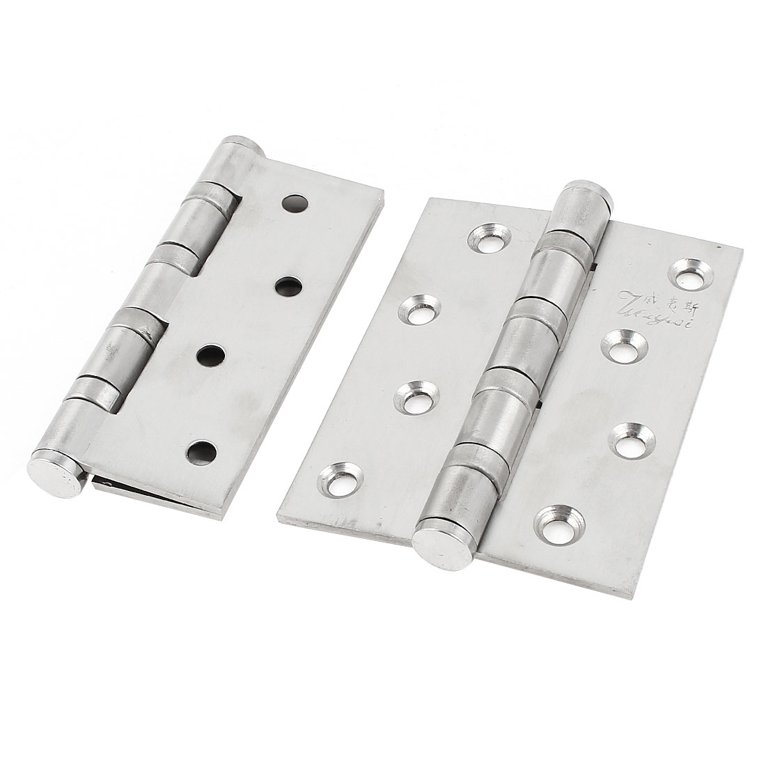 4-inch Silver Tone Folding Cupboard Cabinet Door Hinge Hardware 2 Pcs