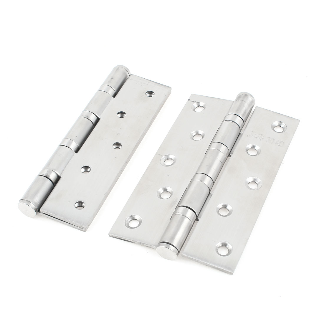 "5"" Silver Tone Folding Cupboard Cabinet Door Hinge Hardware 2 Pcs"