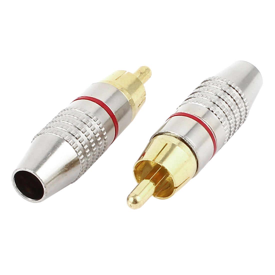 2pcs Metal RCA Male Adapter Audio Coaxial Cable Solderless Connector Adapter