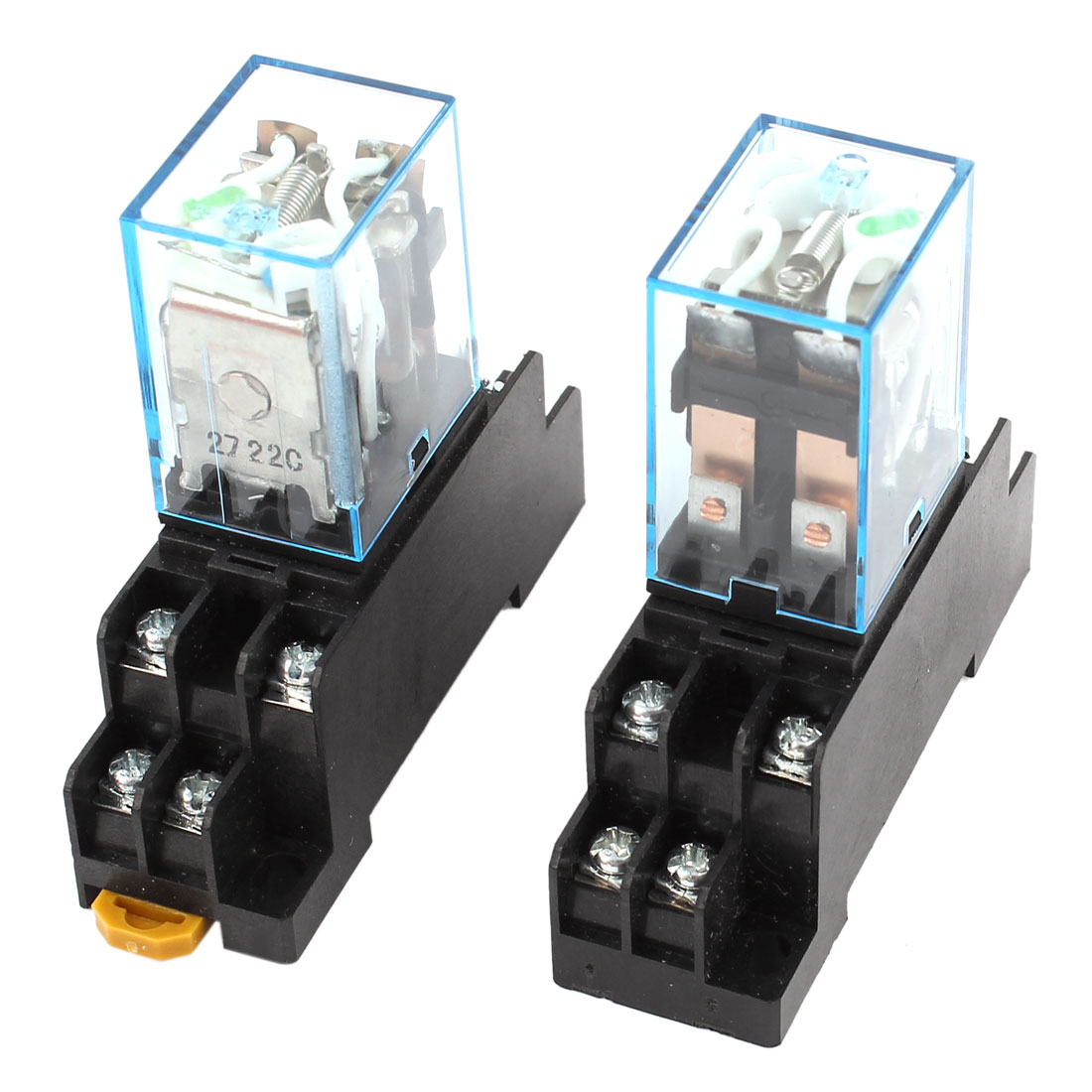 2 Pcs DC 12V Green Light DPDT 35mm DIN Rail Electromagnetic Power Relay + Socket
