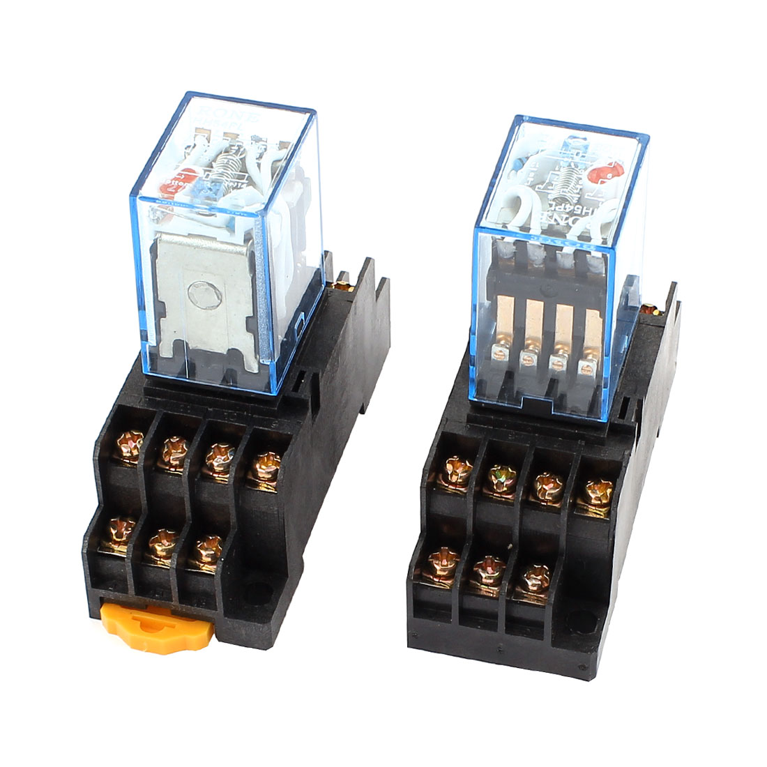 2 Pcs AC 110/120V 5A Coil Red Indicator Light 35mm DIN Rail 4PDT 14Pins Electromagnetic General Purpose Power Relay + Socket Base