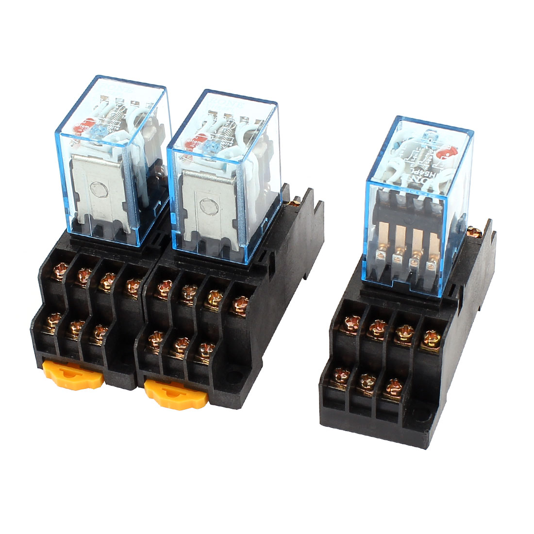 3 Pcs AC 110V Coil 14Pin 4PDT 35mm DIN Rail Electromagnetic Power Relay + Socket